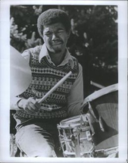 Jack DeJohnette playing a Sonor Teardrop kit in the 1960s.