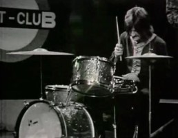 John Bonham playing a Sonor Teardrop kit at the Beat Club in 1969.