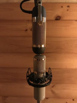 The R84A in M/S configuration with a cardioid tube mic set up as the Mid.